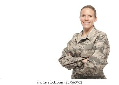Veteran Soldier | happy female airman against white background