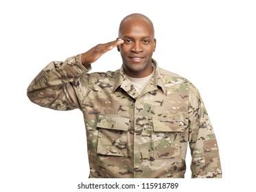 Veteran Soldier | Happy serviceman salutes