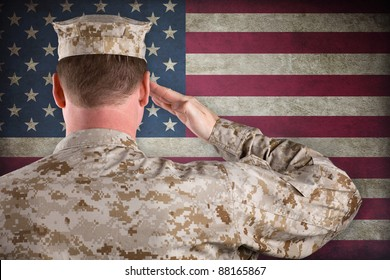 VETERAN SOLDIER | Marine in Desert Fatigues Saluting an American Flag