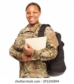 VETERAN SOLDIER | MILITARY COLLEGE BENEFITS | CASH FOR SCHOOL | African American female army soldier with education benefits from the military.