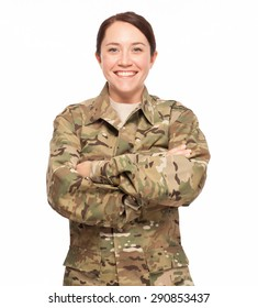 Veteran Soldier | Military female with her arms crossed. Attractive soldier wearing multicam camouflage on white background.