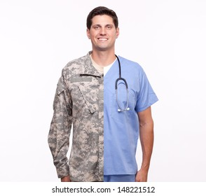 VETERAN SOLDIER   MILITARY TRANSITION TO CIVILIAN WORKPLACE   Portrait of a young man with split careers