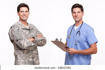 VETERAN SOLDIER   MILITARY TRANSITION TO CIVILIAN WORKPLACE   Portrait of a soldier and male nurse