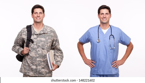 VETERAN SOLDIER   MILITARY TRANSITION TO CIVILIAN WORKPLACE   Soldier using his education benefits to go back to school and become a doctor.  Portrait of male nurse and soldier.