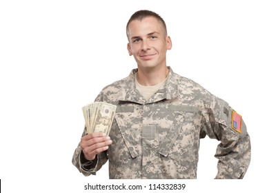 VETERAN SOLDIER | MONEY FOR COLLEGE | PAYDAY LOAN | MILITARY FUNDING| Smiling Serviceman holds Money