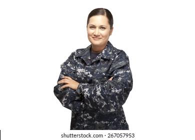 Veteran soldier | Portrait of female in navy uniform against white background