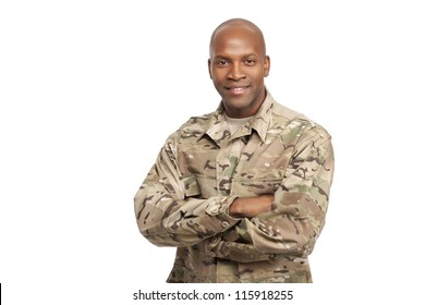 Veteran Soldier smiling with his arms crossed