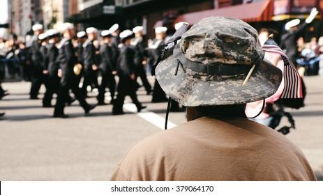 Veteran watching parade