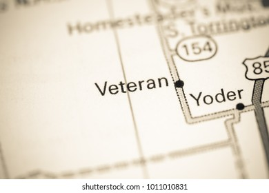 Veteran. Wyoming. USA on a map.