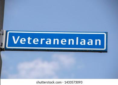 Veteranenlaan Street Sign At Amstelveen The Netherlands 2019