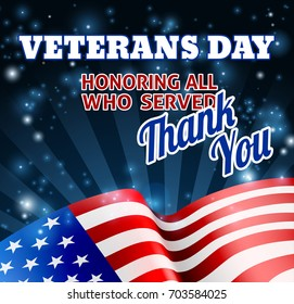 A Veterans Day background with an American Flag and Thank You message