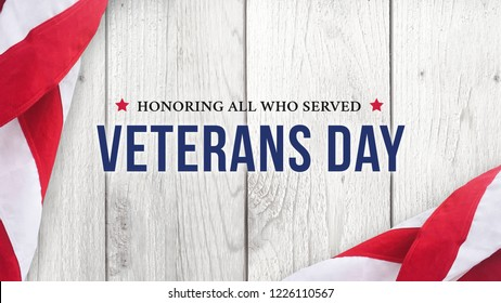 Veterans Day Banner Sign - Honoring All Who Served, Illustration