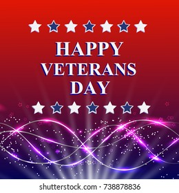 Veterans Day. Honoring all who served. Holiday USA on background with stars. Bright illustration.