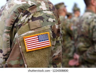 Veterans Day. US soldiers arm. US Army. US troops.
