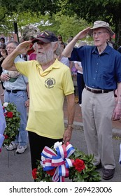 Veterans salute on Memorial Day, 2011 in Concord, MA