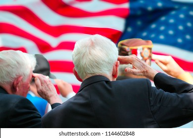 Veterans saluting on Memorial Day ceremony