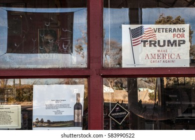 """Veterans for Trump"" sign in the window of a gas station in McNeal, Cochise County, Arizona, as seen in February 2017. 58 percent voted for Donald Trump in this county close to the US-Mexican border."