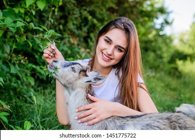 veterinarian care lamb goat. woman vet feeding goat. farm and farming concept. Animals are our friends. happy girl love goat. village weekend. summer day. Love and protect animals. contact zoo.