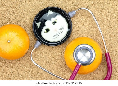 Veterinarian examining orange with a stethoscope, Cat Doctor, Healthy food.