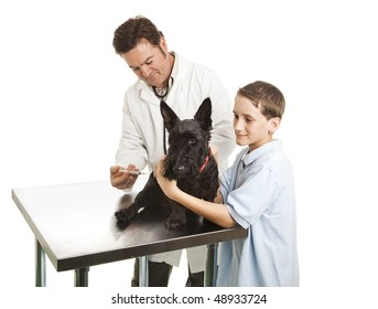 Veterinarian giving a shot to a Scotty dog while the little boy owner helps.  Isolated on white.