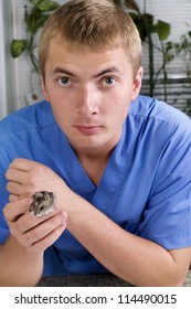 veterinarian and hamster in clinic