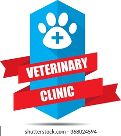 Veterinary clinic label and sign.