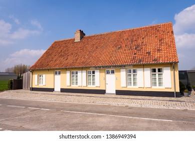 VEURNE, BELGIUM, April 14, 2019. Inn called Herberg In De Doode Mannen in Houtem near Veurne, in Westhoek region, Flanders, Belgium.  Traditional house.
