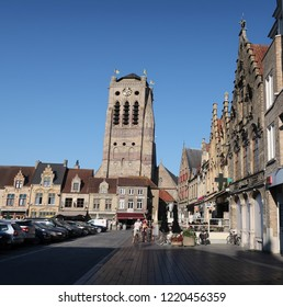 Veurne, Belgium - August 6, 2018: Church parochiekerk Sint Niklaas from de Grote Markt in Veurne West Flanders Belgium