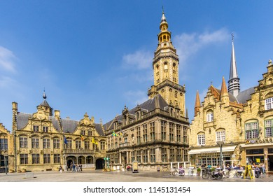 VEURNE,BELGIUM - MAY 20,2018 - View at the City hall ,Courthouse and Belfry at the Grote markt of Veurne.Veurne is a city and municipality in the Belgian province of West Flanders.