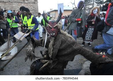 VEVCANI, MACEDONIA - JANUARY , 2015, Dressed up participants at Vevcani Carnival, southwestern Macedonia
