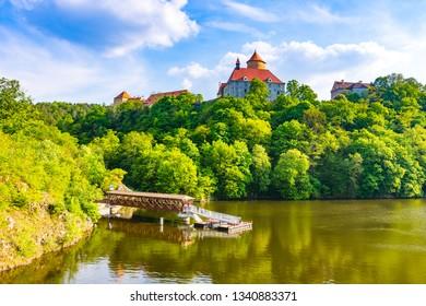 """Veveri castle, Czech republic. Old ancient castle near the Brno city in South Moravia region. Translation: """"Hrad Veveri"""" means """"Castle Veveri""""."""