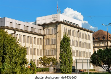 Vevey, Switzerland - August 27, 2016: Nestle corporate headquarter building in Vevey, Swiss Riviera