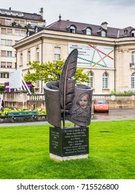 Vevey, Switzerland - May 25, 2016: Monument to the Ukrainian writer Nikolai Gogol (1809 -1852), unveiled on August 12, 2009, made by the sculptor Anatolii Valiev in Vevey, Switzerland.