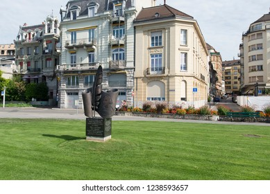Vevey/Switzerland - August 28 2015: Monument to Nikolai Gogol in Vevey, Switzerland. Vevey is a town in Switzerland in the canton Vaud, on the north shore of Lake Geneva.