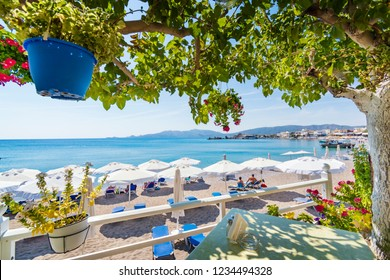 Vew of Haraki beach from table under tree (Rhodes, Greece)