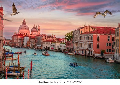 Vew on Santa Maria della Salute basilica at sunset in Venice, Italy