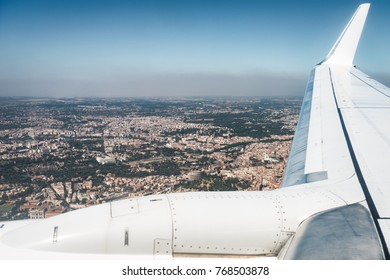 Vew of Rome firom the window of an airliner - Landing in Rome, Italy