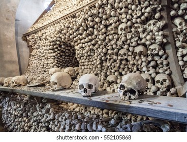 Vew of Sedlec Ossuary, Church of Bones in Kutna Hora, designed by real human skeleton bones.