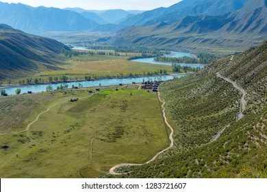 Vew of the valley of the Katun river on an autumn morning, a cluster of Argut in the Altai Republic