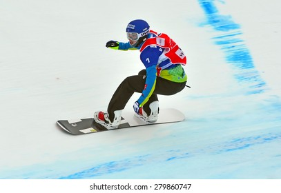 VEYSONNAZ, SWITZERLAND - MARCH 14:  Nelly MOENNE LOCCOZ (FRA) competing in the finals of the Snowboard Cross World Cup: March 14, 2015 in Veysonnaz, Switzerland
