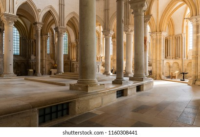 Vezelay, France - July 29, 2018: Church Interior of the romanesque abbey of Vezelay in Yonne, France.