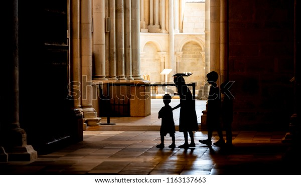 Vezelay, France - July 29, 2018: Church service with children in the romanesque church and abbey of Vezelay in Yonne, France.