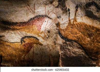 Vezere Valley, France - April 22, 2017 : Images of animals, wall painting in the Lascaux Cave (UNESCO World Heritage List, 1979), Vezere Valley, France.