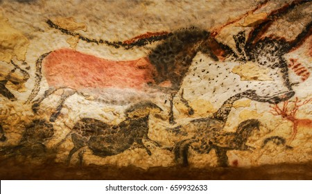 Vezere Valley, France - April 22, 2017 Images of animals, wall painting in the Lascaux Cave (UNESCO World Heritage List, 1979), Vezere Valley, France.