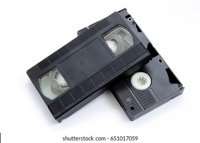 vhs tapes on white background