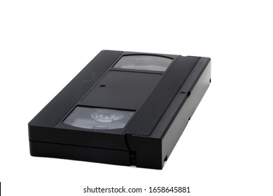 A VHS video cassette isolated on a white background