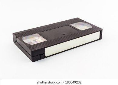 VHS video cassette isolated on white background.