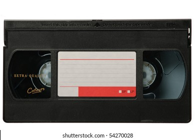 VHS video tape cassette isolated on white background