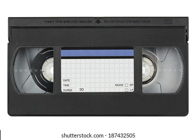 vhs videotape with blank label on white