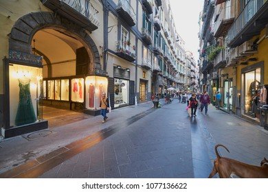 Via Chiaia, elegant shopping street in April 2018 - city of Naples, Italy